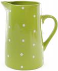 """Кувшин керамический """"Белый горошек"""" 1000мл, зеленый"""