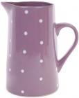 """Глечик керамічний """"Білий горошок"""" 1000мл, фіолетовий"""