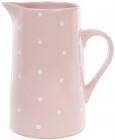 """Глечик керамічний """"Білий горошок"""" 1000мл, рожевий"""