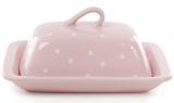 """Маслянка керамічна """"Білий горошок"""" 21х12х16.5см, рожева"""