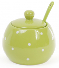 """Цукорниця керамічна """"Білий горошок"""" 350мл, з ложкою, зелена"""