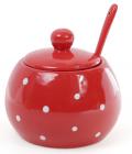 """Цукорниця керамічна """"Білий горошок"""" 350мл, з ложкою, червона"""