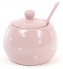 """Сахарница керамическая """"Белый горошек"""" 350мл, с ложкой, розовая"""