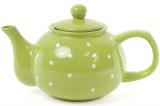 """Чайник заварочный """"Белый горошек"""" 1000мл, керамический, зеленый"""