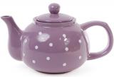 """Чайник заварочный """"Белый горошек"""" 1000мл, керамический, фиолетовый"""