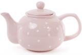 """Чайник заварочный """"Белый горошек"""" 1000мл, керамический, розовый"""