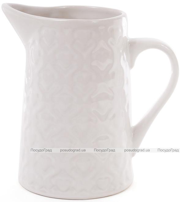 """Кувшин керамический """"Нежный орнамент"""" 860мл, белый"""