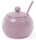 """Сахарница керамическая """"Нежный орнамент"""" 350мл, с ложечкой, фиолетовая"""