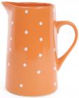 """Глечик керамічний """"Білий горошок"""" 1000мл, помаранчевий"""