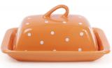 """Маслянка керамічна """"Білий горошок"""" 21х12х16.5см, помаранчева"""