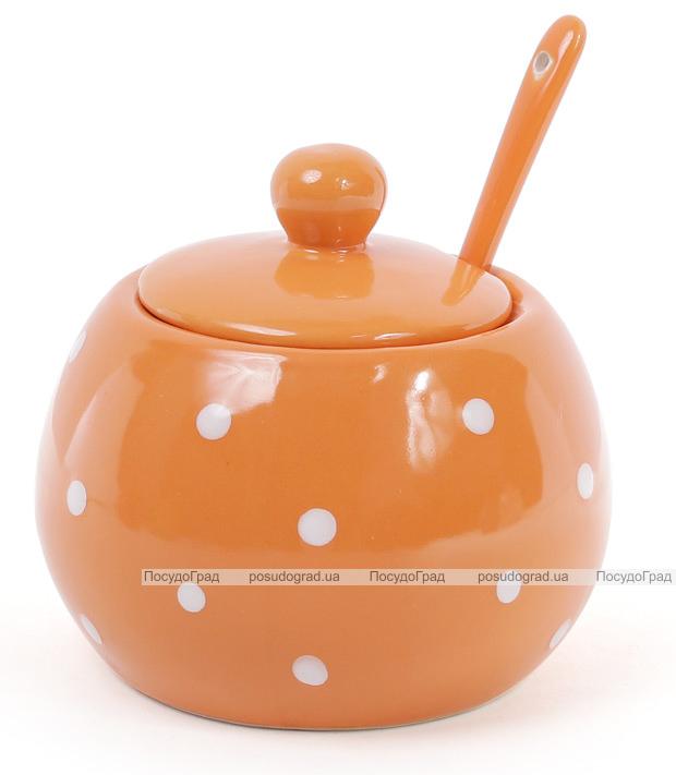 """Сахарница керамическая """"Белый горошек"""" 350мл, с ложкой, оранжевая"""