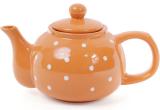 """Чайник заварювальний """"Білий горошок"""" 1000мл, керамічний, помаранчевий"""
