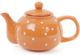 """Чайник заварочный """"Белый горошек"""" 1000мл, керамический, оранжевый"""