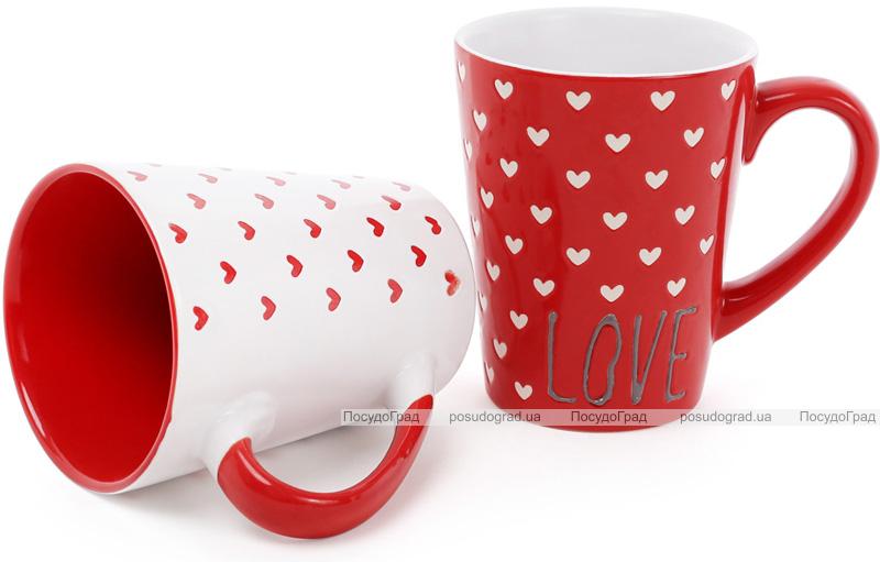 """Кружка керамічна """"Червоно-біле серце"""" 340мл"""