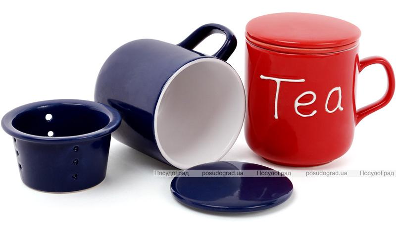 """Кружка-заварник Shabby Chic """"Tea"""" 290мл с керамическим фильтром"""
