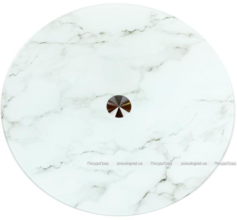 Блюдо сервировочное Liadane Белый Мрамор вращающееся Ø32см стеклянное