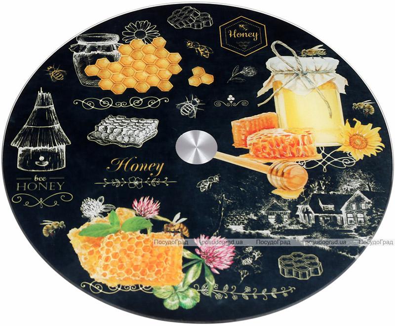 """Блюдо сервіровочне Liadane """"Honey"""" поворотне Ø32см скляне"""