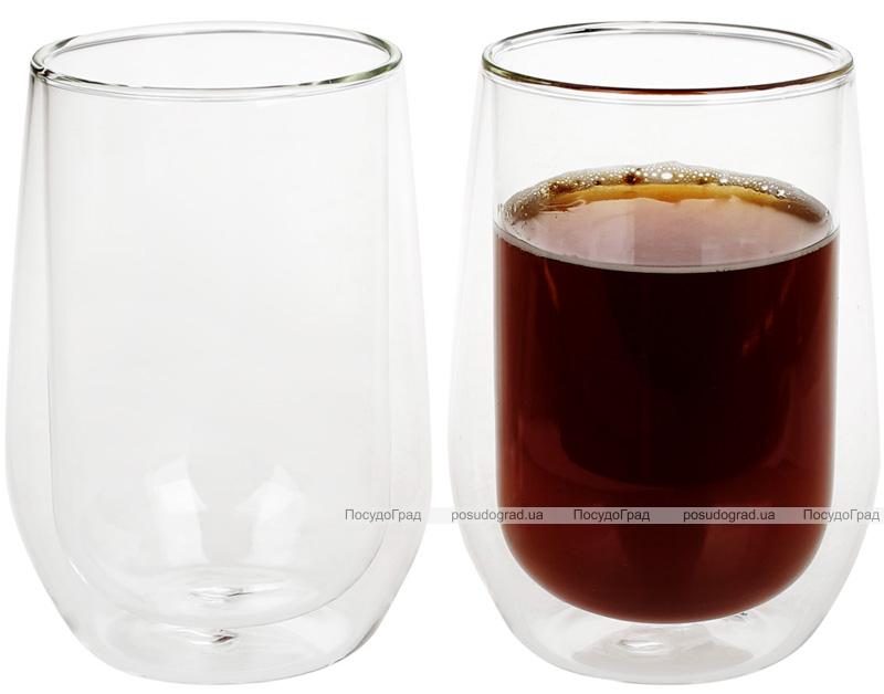 Набор 2 стакана Lorenza 370мл с двойными стенками, стеклянные термостаканы