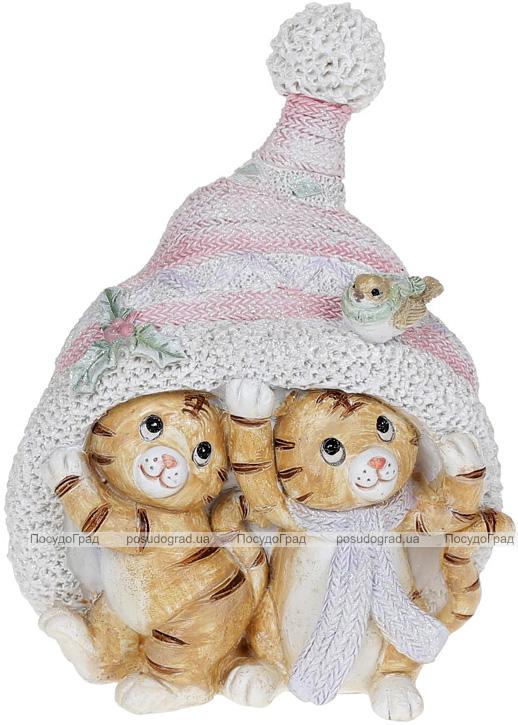 """Декоративная статуэтка """"Тигрята в шапке"""" 13.5см, полистоун"""