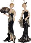 """Набір 2 підвісні статуетки """"Мадмуазель"""" 15см, полистоун, чорний з шампанню"""