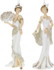"""Набір 2 підвісні статуетки """"Мадмуазель"""" 15см, полистоун, шампань з білим"""