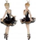 """Набор 6 подвесных статуэток """"Балерина"""" 11см, полистоун, чёрный с шампанью, 2 дизайна"""