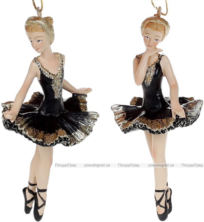 """Набір 6 підвісних статуеток """"Балерина"""" 11см, полистоун, чорний з шампанню, 2 дизайни"""