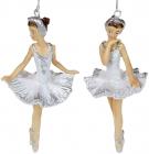 """Набір 6 підвісних статуеток """"Балерина"""" 11см, полистоун, білий з сріблом, 2 дизайни"""