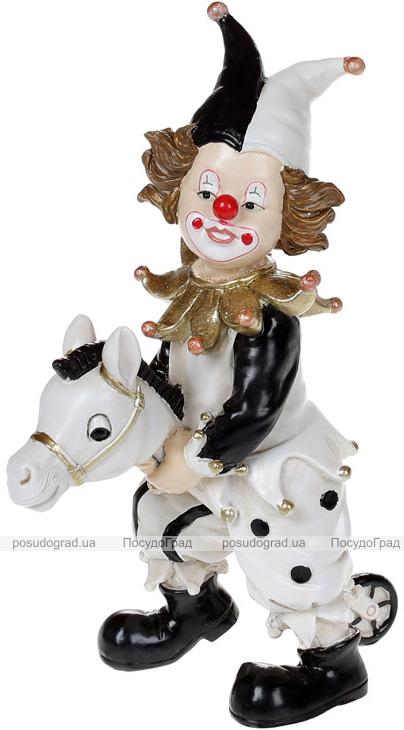 """Декоративная статуэтка """"Клоун на Лошадке"""" 16.5см, полистоун, чёрный с белым"""