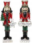 """Набір 2 статуетки """"Лускунчик з Новим Роком"""" 22см, 2 дизайни, червоний з зеленим"""