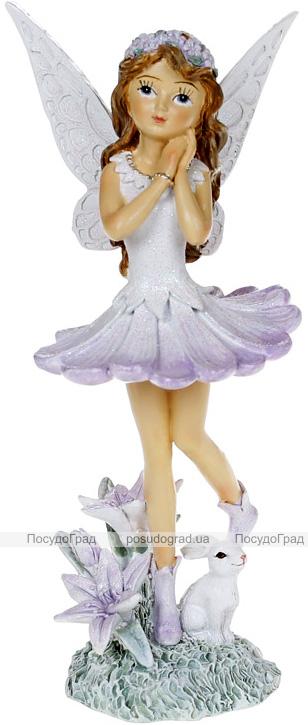 """Декоративна статуетка """"Маленька Фея"""" 8х7х17.5см, полистоун, ліловий"""