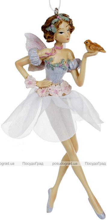 """Декоративна підвісна фігурка """"Фея"""" 6.5х4х15.5см, полистоун, лілово-рожевий"""
