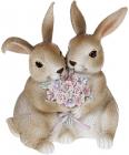 """Декоративна статуетка """"Кролики з квітами"""" 11х6.5х12.5см, полистоун, рожевий"""
