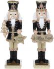 """Набір 2 статуетки """"Лускунчик з Новим Роком"""" 22см, 2 дизайни, чорний з шампанню"""