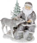 """Декоративна статуетка """"Санта з Оленем"""" 17см, полистоун, світло-сірий з глітером"""