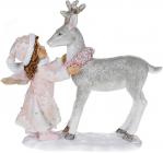 """Статуетка декоративна """"Ангел з Оленям"""" 14.5см, полистоун, біло-рожевий"""