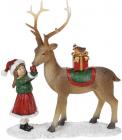 """Декоративна статуетка """"Дівчинка з Оленем"""" 21см, полистоун, червоний з коричневим"""