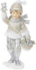 """Статуэтка """"Малыш с корзиной подарков"""" 19см, в серебре"""