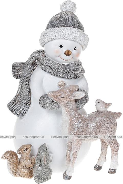 """Декоративна статуетка """"Сніговик з Друзями"""" 16.5см, полистоун, білий з бежевим"""