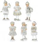 """Набір 6 статуеток """"Діти в очікуванні Нового Року"""" 12см, шампань"""