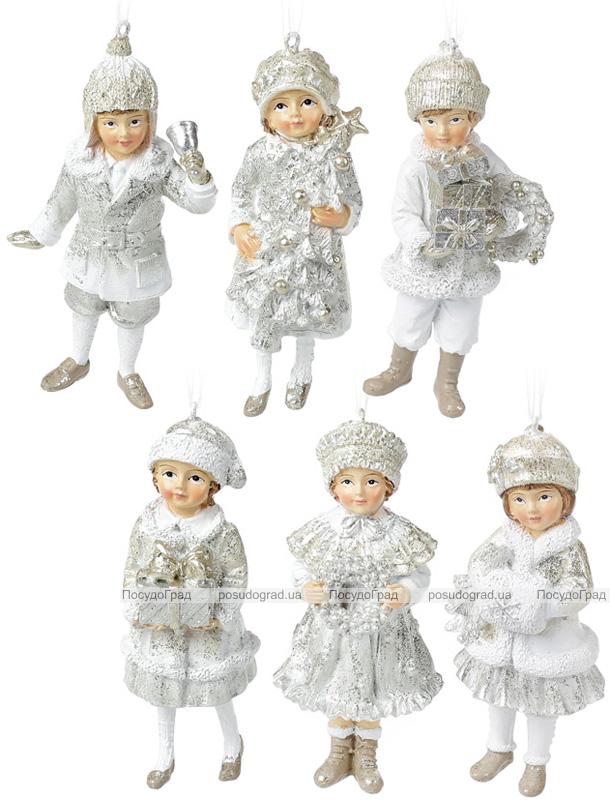 """Набор 6 подвесных фигурок """"Дети в ожидании Нового Года"""" 12см, шампань"""