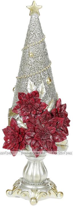 """Декоративна статуетка """"Ялинка у квітках"""" 10х10х29см, шампань"""