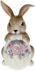 """Декоративна статуетка """"Кролик з квітами"""" 8.5х6.5х12.см, полистоун рожевий"""