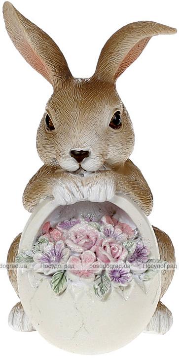 """Декоративная статуэтка """"Кролик с цветами"""" 8.5х6.5х12.см, полистоун розовый"""