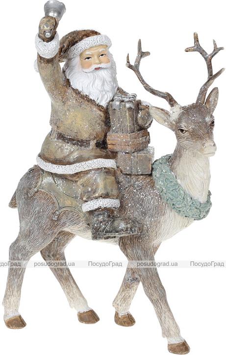 """Декоративна статуетка """"Санта на Олені"""" 22.5см, полистоун, бежевий з глітером"""