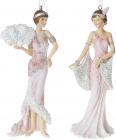 """Набір 2 підвісні статуетки """"Мадмуазель"""" 15см, полистоун, рожевий з білим"""