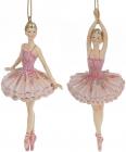 """Набор 6 подвесных статуэток """"Балерина"""" 14.5см, полистоун, розовый"""
