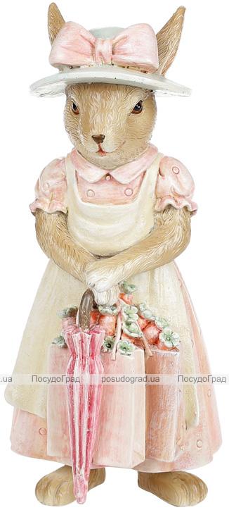 """Декоративная статуэтка """"Зайка с зонтом"""" 8х7.5х18.5см, полистоун, розовый"""