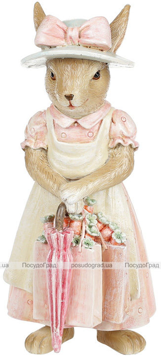 """Декоративна статуетка """"Зайка з парасолькою"""" 8х7.5х18.5см, полістоун, рожевий"""