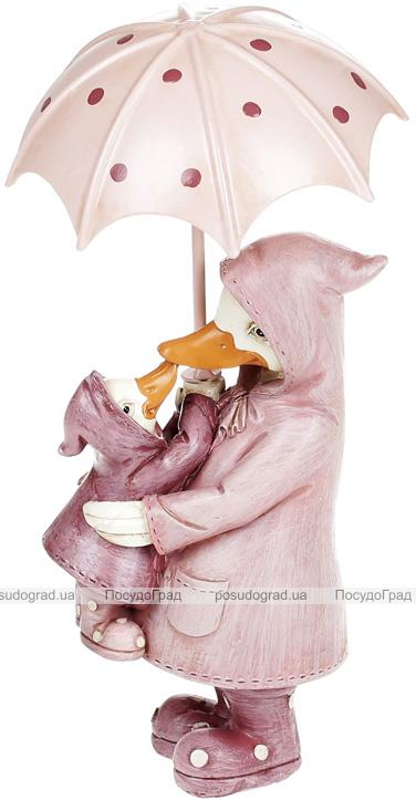 """Декоративна статуетка """"Качка з каченям"""" 7.5х6.5х14см, полістоун, рожевий"""